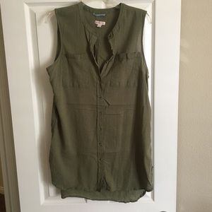 Olive green sleeveless button down